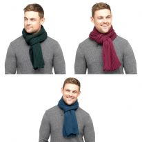 Tom Franks Mens Chunky Scarf - Green, Navy & Burgundy